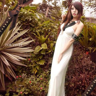 東京衣服-希臘風情 黑寶石項鍊背後交叉性感長禮服 白