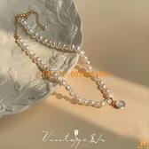 法式宮廷復古溫柔淡水珍珠月光石項鏈鎖骨鏈【慢客生活】