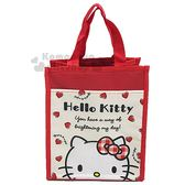 〔小禮堂〕Hello Kitty 直式尼龍手提便當袋《米紅.大臉.愛心》保冷袋.購物袋 4713218-18051