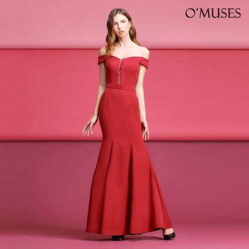 OMUSES 一字領魚尾伴娘婚紗晚宴紅色長禮服