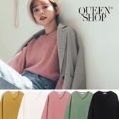 Queen Shop【01012374】基本百搭素色V領長袖針織上衣 五色售*現+預*