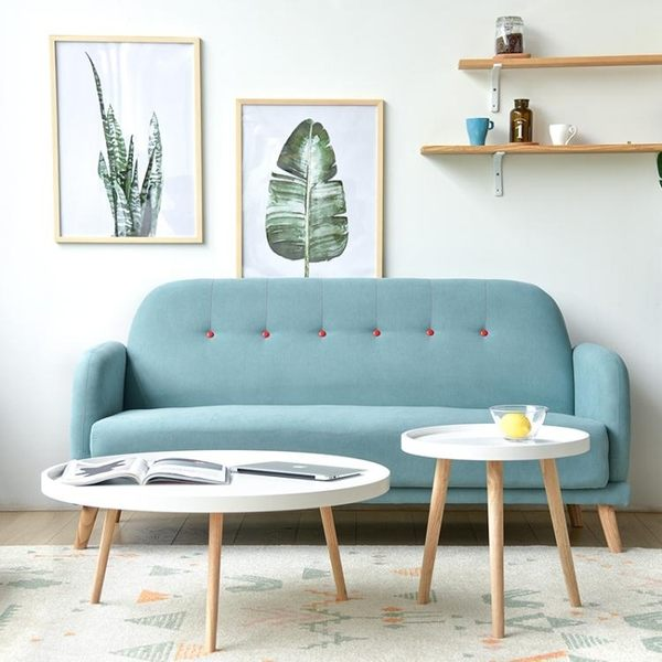 沙發 北歐時尚布藝三人單人雙人小戶型沙發簡約咖啡廳甜品奶茶店沙發椅ATF poly girl