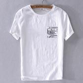 亞麻T恤-棉麻白色休閒短袖男上衣73xf37【巴黎精品】