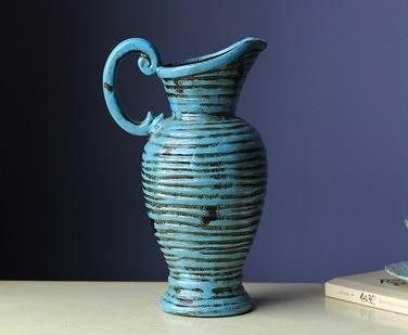 【協貿國際】歐式陶瓷花瓶橫紋奶壺