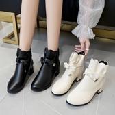 短靴秋冬季配裙子穿的靴子女甜美短靴百搭2019新款中跟小香風網紅單靴
