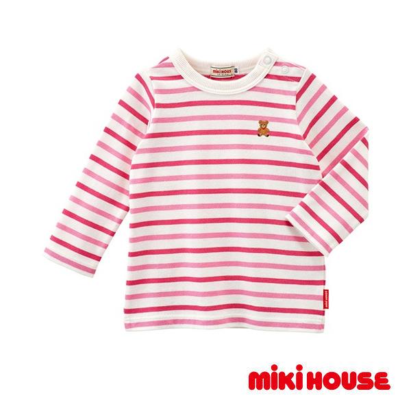 MIKI HOUSE Everyday經典條紋長袖T恤(白&粉)