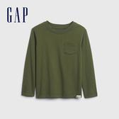 Gap男幼童 活力亮色圓領休閒長袖T恤 577619-軍綠色