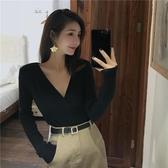 春秋上衣性感chic氣質修身顯瘦薄款黑色V領百搭打底長袖針織衫女