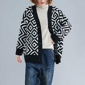依多多 外套 斤加肥加大文藝范外套歐貨時尚幾何毛衣開衫外套