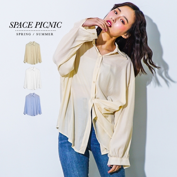 長袖 襯衫 Space Picnic 現+預.兩穿素面排釦式長袖襯衫【C19031006】