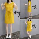 洋裝 連身裙 韓版夏季中長款T恤裙寬鬆打底裙V領短袖連身裙 父親節降價
