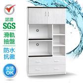 IHouse-SGS 防潮抗蟲蛀緩衝塑鋼二門四抽二拖置物電器櫃