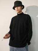 半高領長袖T恤男寬鬆冬季衛衣加絨白色黑色打底衫圓領內搭潮上衣