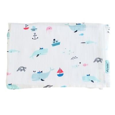 美國 tiny twinkle Swaddle Blanket Single 紗布巾單入-鯨魚