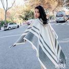 秋冬季韓版英倫復古長款仿羊絨寬鬆大披肩斗篷帶帽披風外套女圍巾 PA11456『紅袖伊人』