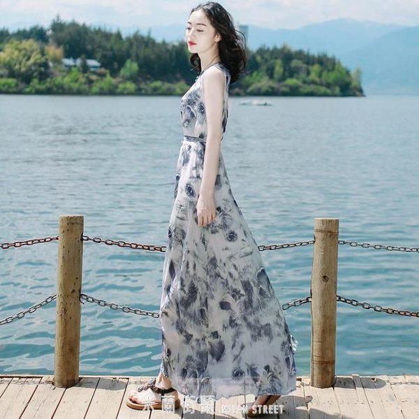 夏雪紡洋裝長裙超仙顯瘦泰國普吉島馬爾代夫三亞海邊度假沙灘裙 「米蘭街頭」