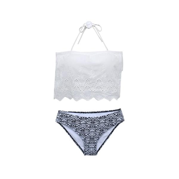 【R現貨】蕾絲縷空 抹胸上衣 圖騰小褲 二件式 比基尼 舒適無鋼圈泳衣 顯瘦翹臀 泳衣