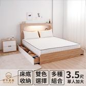 【本木】洛根房間四件組-單大3.5尺 床墊+床頭+六抽床底+雙抽邊櫃梧桐色