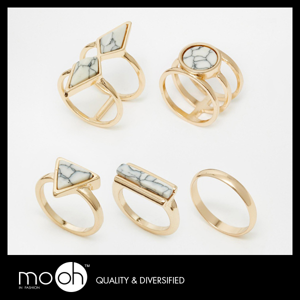 戒指 質感 寶石  歐美氣質白松石指戒指環 mo.oh (原創飾品)