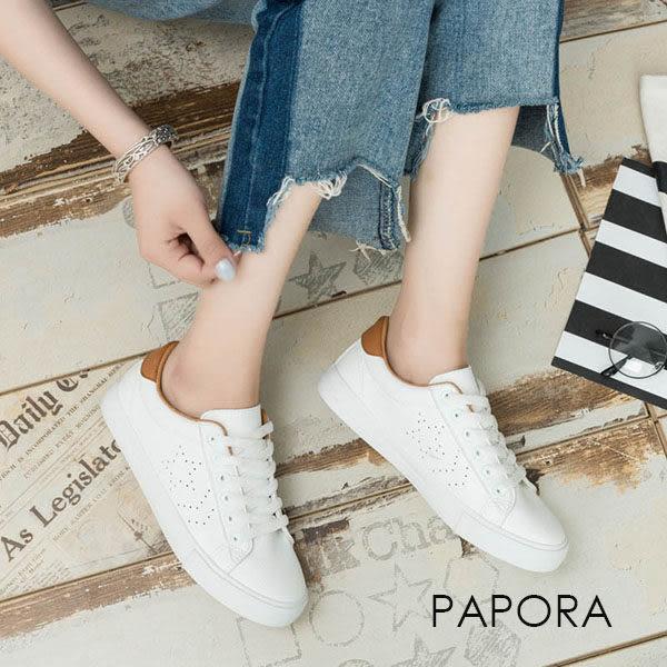 休閒鞋.學院風綁帶平底休閒鞋【K6678】白棕/白綠(偏小)