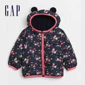 Gap嬰兒 活力花卉印花拉鍊連帽外套 593307-海軍藍印花