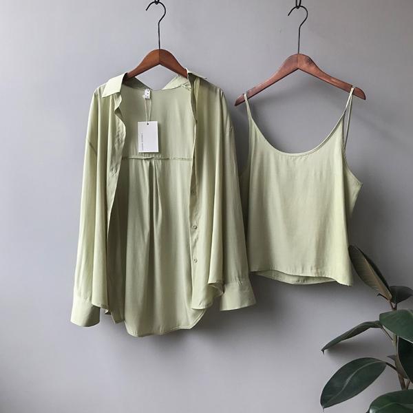 M兩件套上衣 混紡滑順好手感素面三色-月兒的綺麗莊園