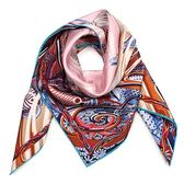 HERMES 水世界圖騰真絲方型披肩圍巾(粉橘色)179142