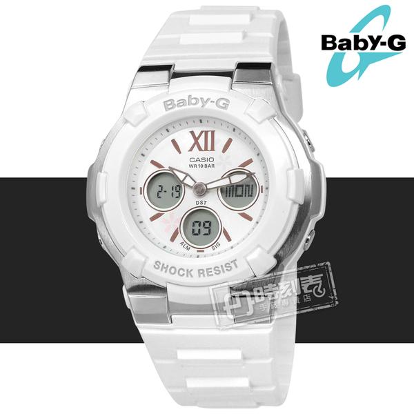 Baby-G CASIO / BGA-110BL-7B / 卡西歐甜美櫻花世界時間計時雙顯運動防水橡膠手錶 白色 40mm