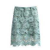 鏤空蕾絲半身裙2018新款春季純色百搭a字短裙顯瘦高腰蕾絲包臀裙