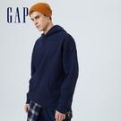 Gap男女同款 碳素軟磨系列 簡約風格素色連帽休閒上衣 627533-海軍藍