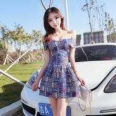 主播服裝女夏洋裝小禮服裙性感短袖低胸一字肩收腰顯瘦蓬蓬連衣裙 伊羅 新品