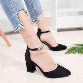 高跟鞋  新款女鞋百搭粗跟鞋子韓版學生包頭女士羅馬涼鞋【店慶滿月限時八折】