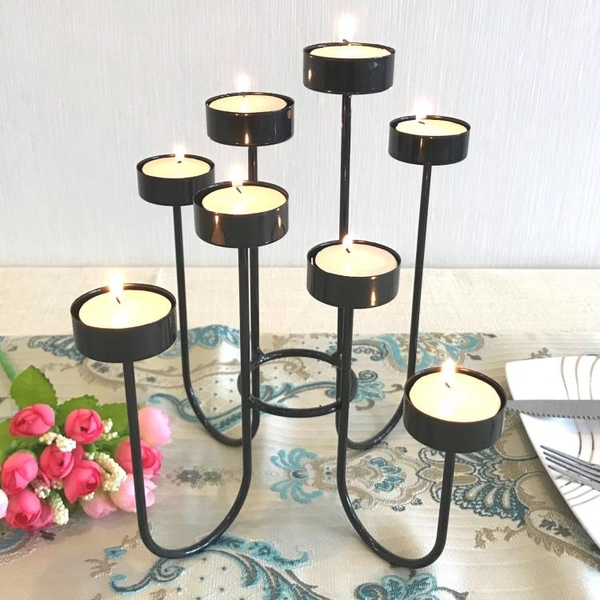 歐式鐵藝蠟燭台聖誕七夕情人節浪漫燭光晚餐 婚禮西餐擺件 露露日記