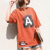 春夏新品字母A印花圓領寬鬆大碼棉麻中袖T恤女BF風破洞上衣潮M-L