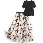 短袖套裝(兩件套)-V領T恤網紗長裙女裙子73yd4【時尚巴黎】