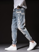夏季男士九分牛仔褲寬鬆韓版潮流小腳褲