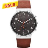 SKAGEN 潮流時尚計時石英腕錶/手錶-灰x咖啡 SKW6099