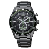 CITIZEN Eco-Drive 型男時尚三眼計時光動能腕錶/全黑鋼/42mm/AT2115-52E