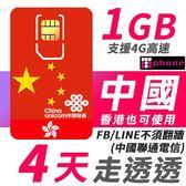 【TPHONE上網專家】中國聯通 香港可使用 4日高速上網 1GB上網流量 不須翻牆 FB/LINE直接用