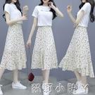 雪紡洋裝套裝女夏季2021年新款時尚今年流行氣質碎花裙子兩件套 蘿莉新品