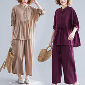 優雅素色木釦造型套裝(上衣+褲子)-中大尺碼 獨具衣格
