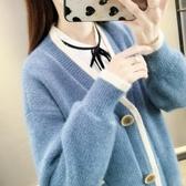 毛衣外套女秋冬季新款韓版寬鬆網紅慵懶風水貂絨V領針織開衫