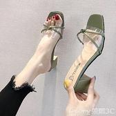 【榮耀3C】高跟拖鞋涼鞋女2021夏新款女鞋透明外穿涼拖鞋粗跟百搭涼鞋舒適高跟一字拖  新品