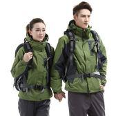 秋冬季沖鋒衣男女綠色加厚三合一兩件套