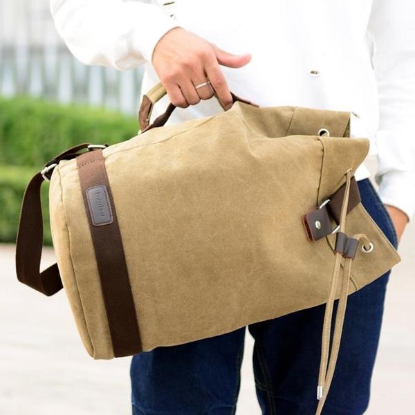 帆布水桶雙肩包男包戶外運動休閒大容量電腦背包旅行包學生書包潮☌zakka