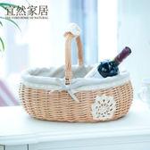 宜然家居收納zakka方圓柳編手提籃日式布藝蕾絲提籃面包野餐籃 聖誕交換禮物
