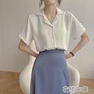 短袖襯衫 春夏新款復古港味正韓職業西裝領長袖翻領短袖襯衫女純色上衣 2021新款