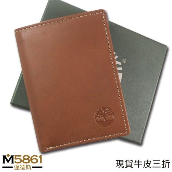 【Timberland】牛皮夾 三折卡夾 品牌盒裝/咖色