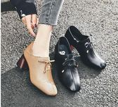 高跟皮鞋粗跟單鞋女2019春季春款方頭真皮鞋子高跟英倫風休閒小皮鞋女 【7月爆款】LX