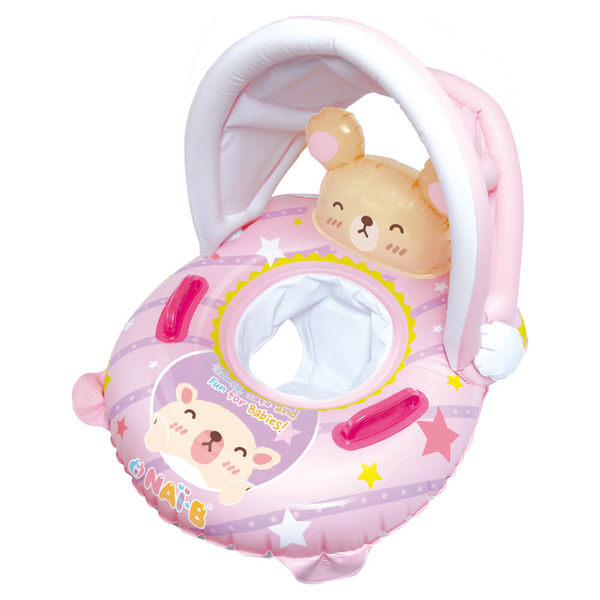 奈比兒童坐式遮陽泳圈-粉色